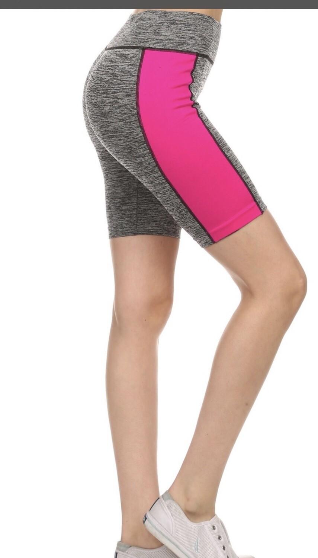 Athletic Medium Rise Shorts Pink/AQUA