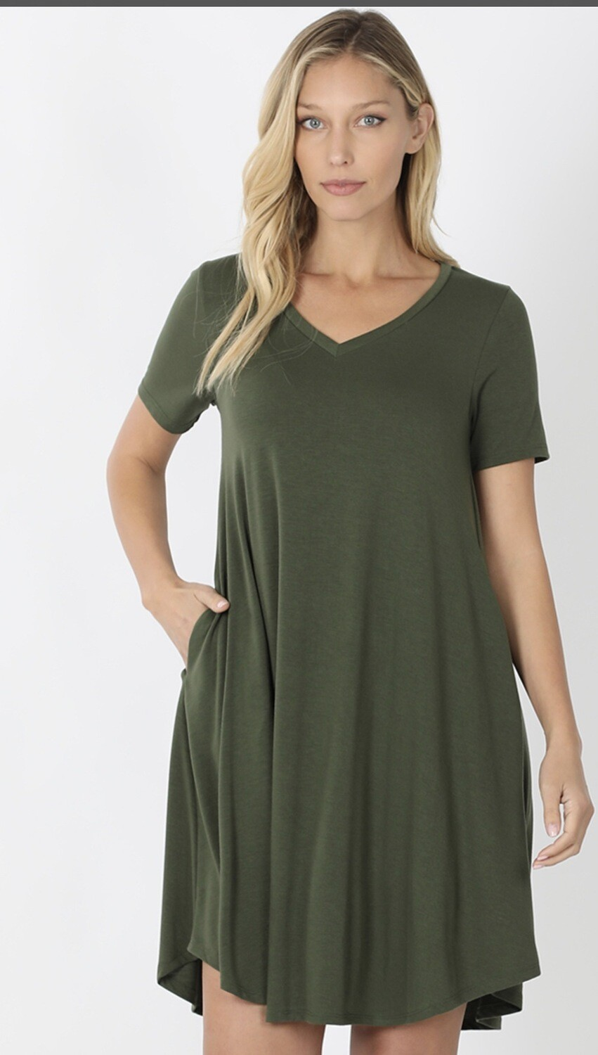 V Neck T-shirt Dress W/ Pockets