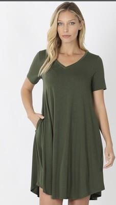 V Neck T-shirt Dress W/ Pockets