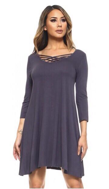Charcoal Lattice Dress