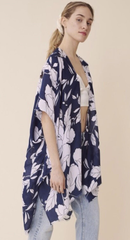 Tropical Navy Kimono