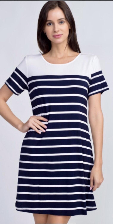Nautical Striped Tee-Shirt Dress