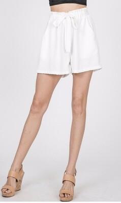White Paper-Bag Shorts