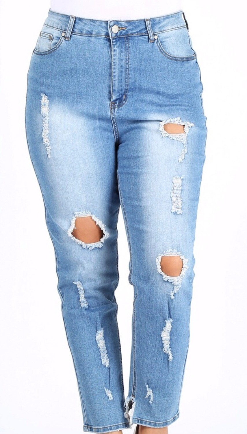 Light Blue Distressed High-Waist Plus Jeans