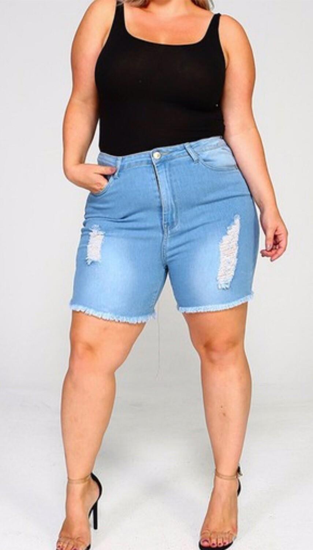 Distressed Plus Shorts