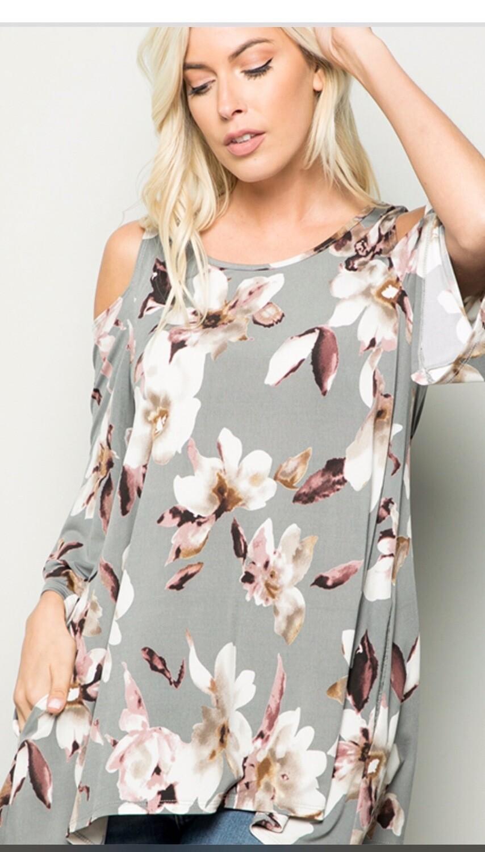 Grey Floral Open Shoulder Blouse