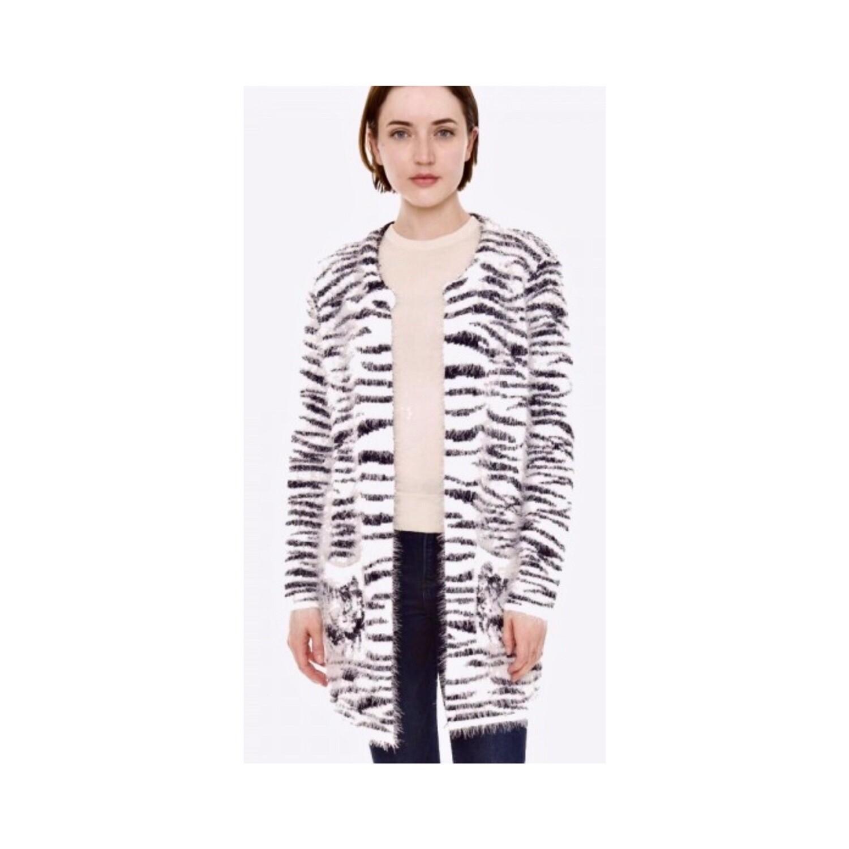Fuzzy Zebra Cardigan