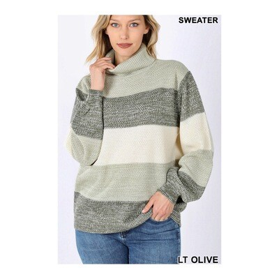Olive Turtleneck Sweater