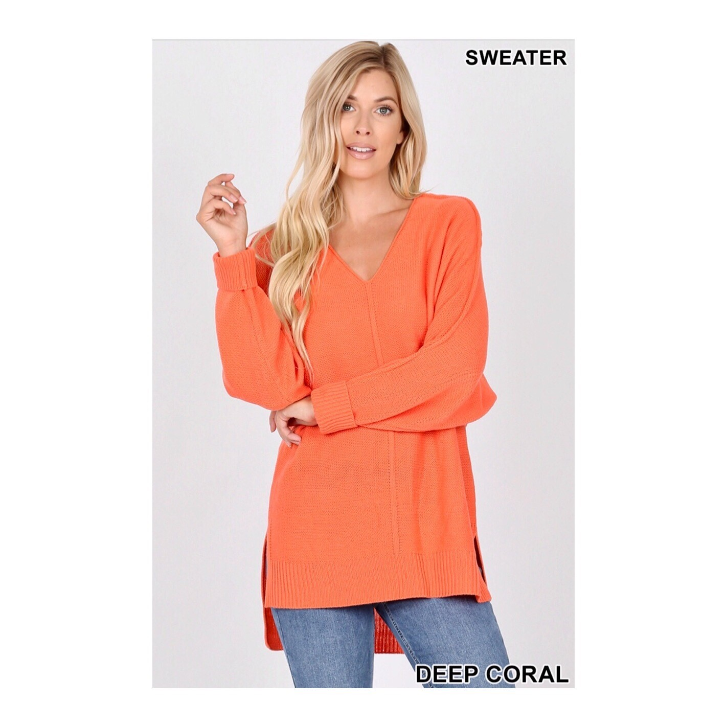 Deep Coral Knit Sweater