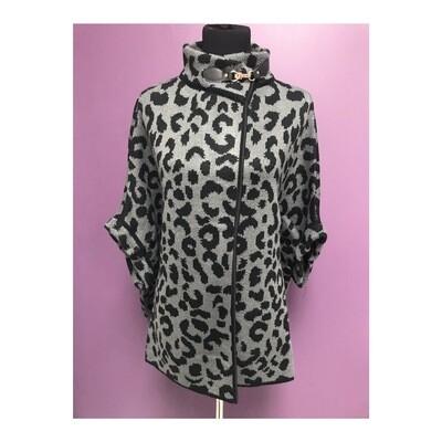 Grey Leopard Poncho