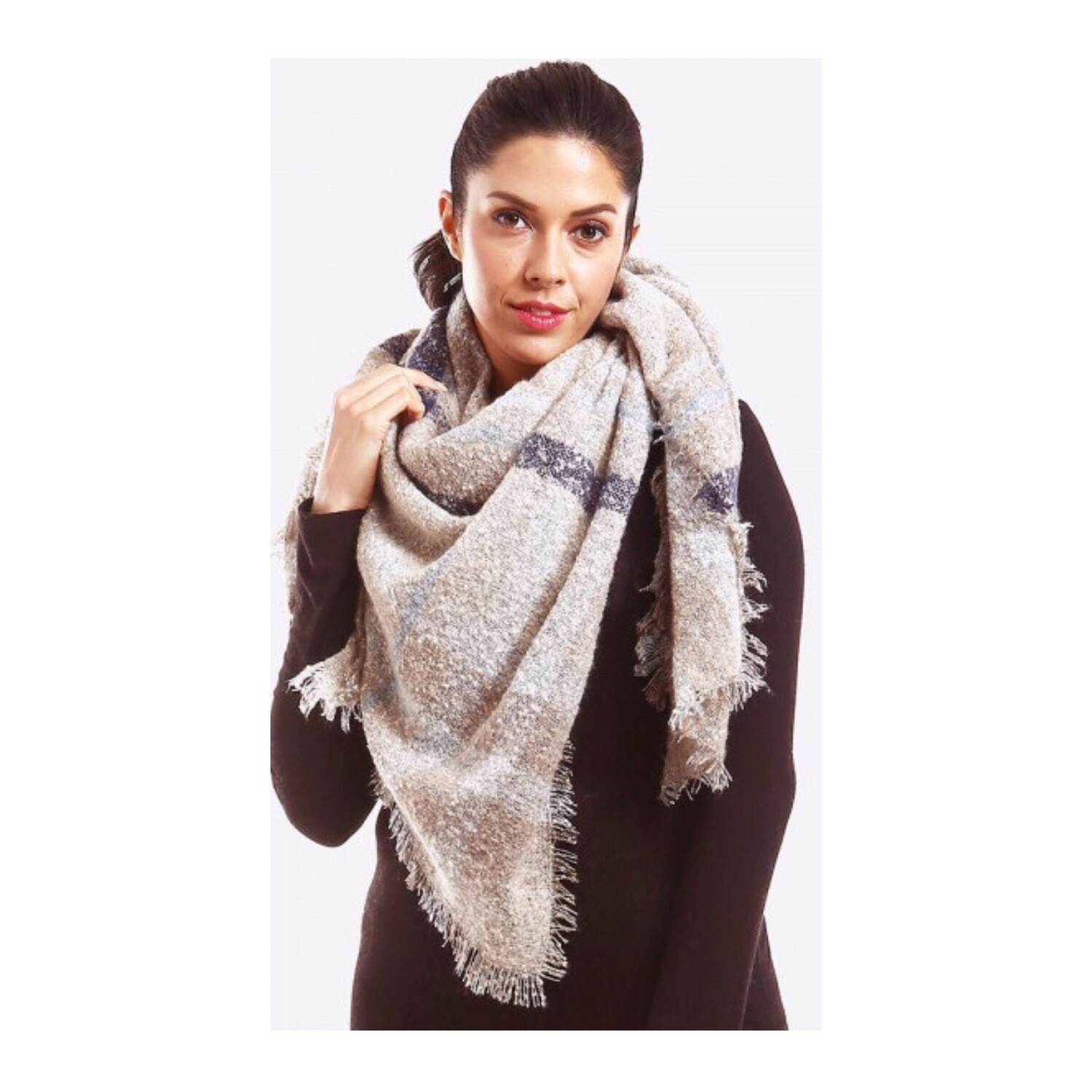 Ivory/Steel Plaid Scarf