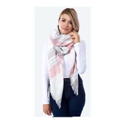 Pink/Grey Plaid Scarf