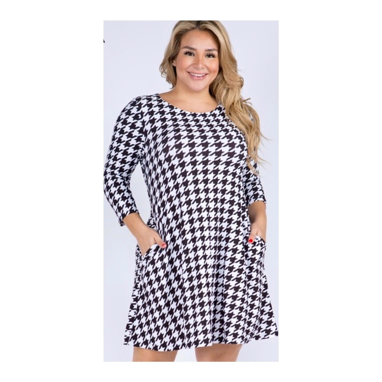 Houndstooth Plus Dress