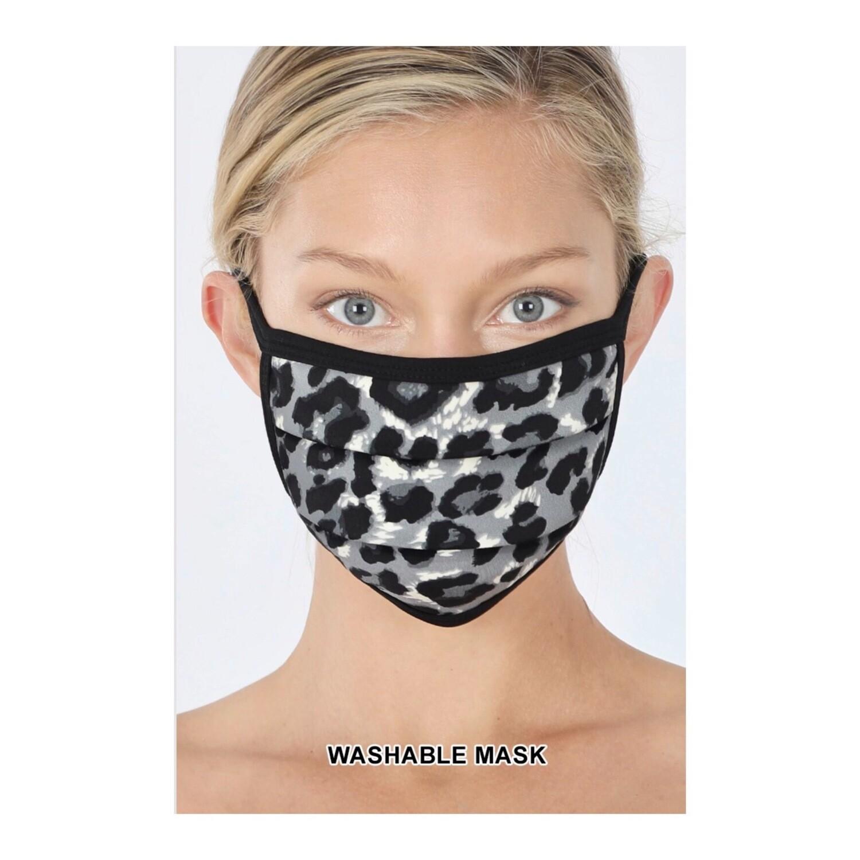Grey Leopard Face Mask
