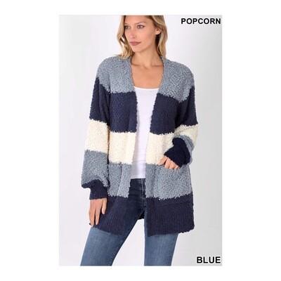Slate Blue Popcorn Cardigan