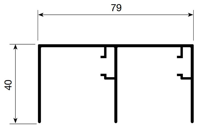 RIEL SUPERIOR 2 PUERTAS (4.20 mts)