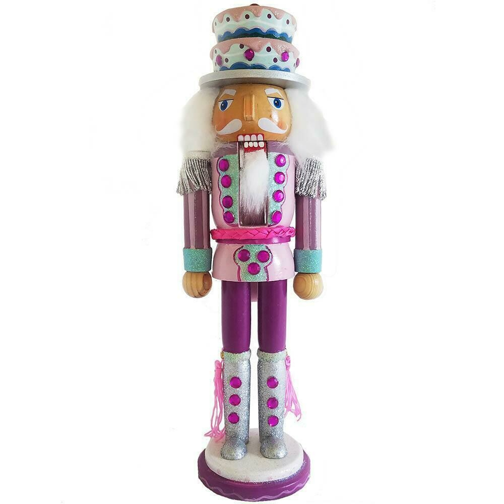 Candy Cane Nutcracker Pink and Teal with Cake Hat 12 inch