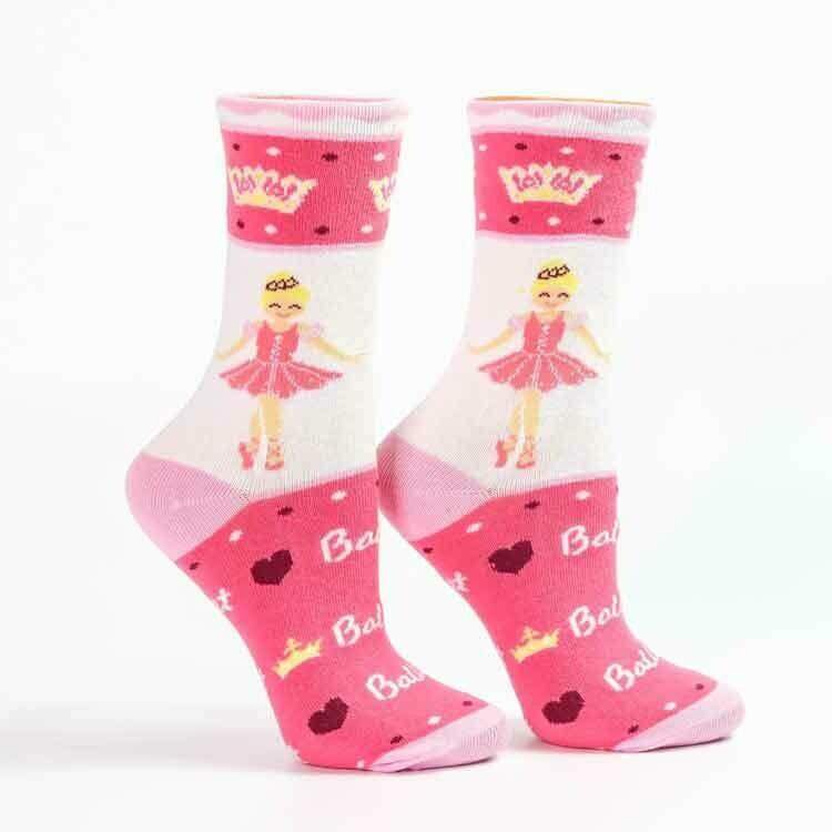 Sugar Plum Ballerina, I Love Ballet Pink Socks