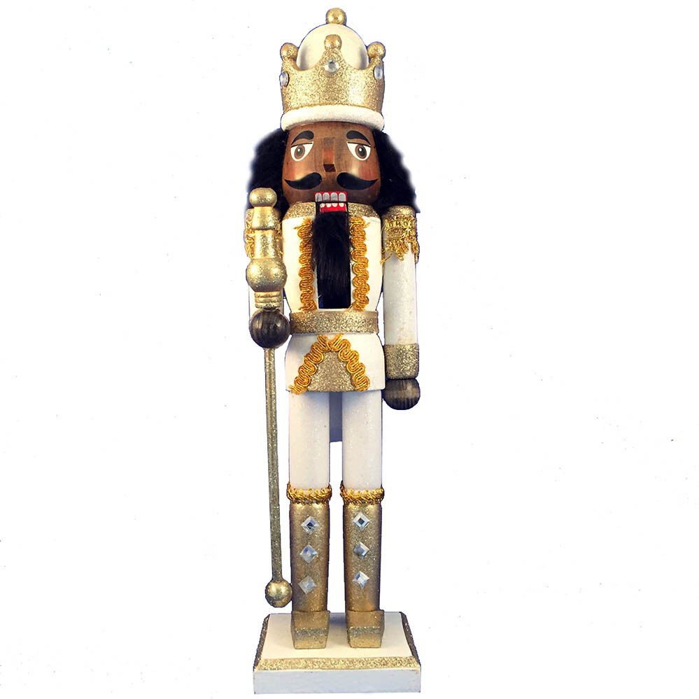 King Nutcracker Gold White Glitter and Crown 15