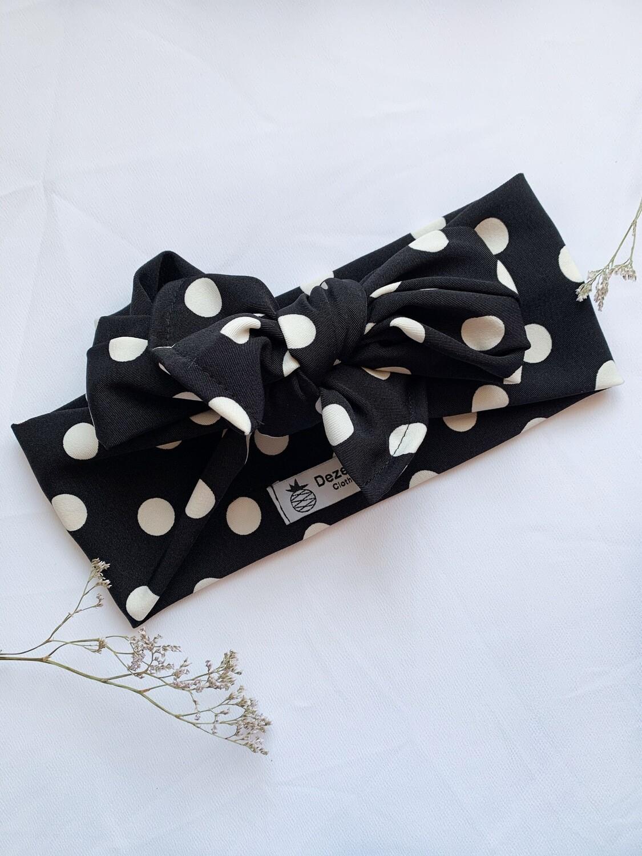 Turbante Multiposición Negro Topos Blancos