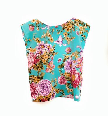 Camiseta floral turquesa