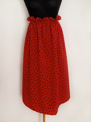 Falda midi Roja topos