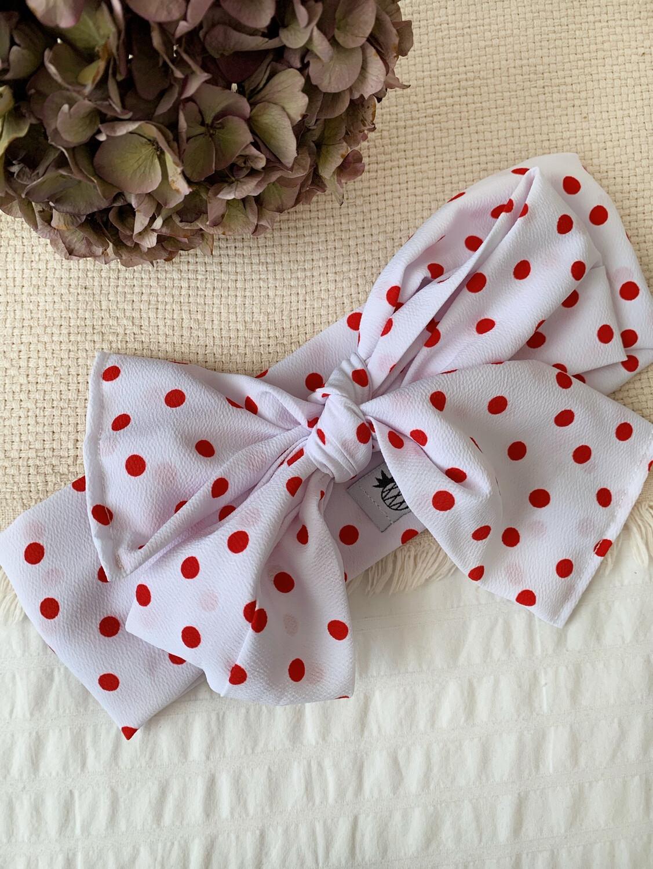 Turbante Multiposición Blanco topos rojos
