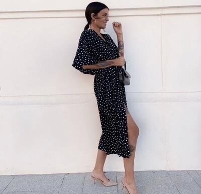 Kimono Midi Negro topos blancos