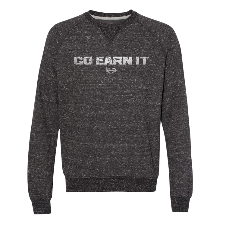 Go Earn It Distressed Crew Sweatshirt - Dark Gray Heather