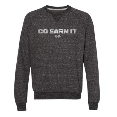 Go Earn It Distressed Crew Sweatshirt - Dark Gray Heather