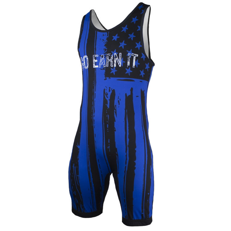 Go Earn It - Blue Stars and Stripes Singlet - Adult Sizing Only