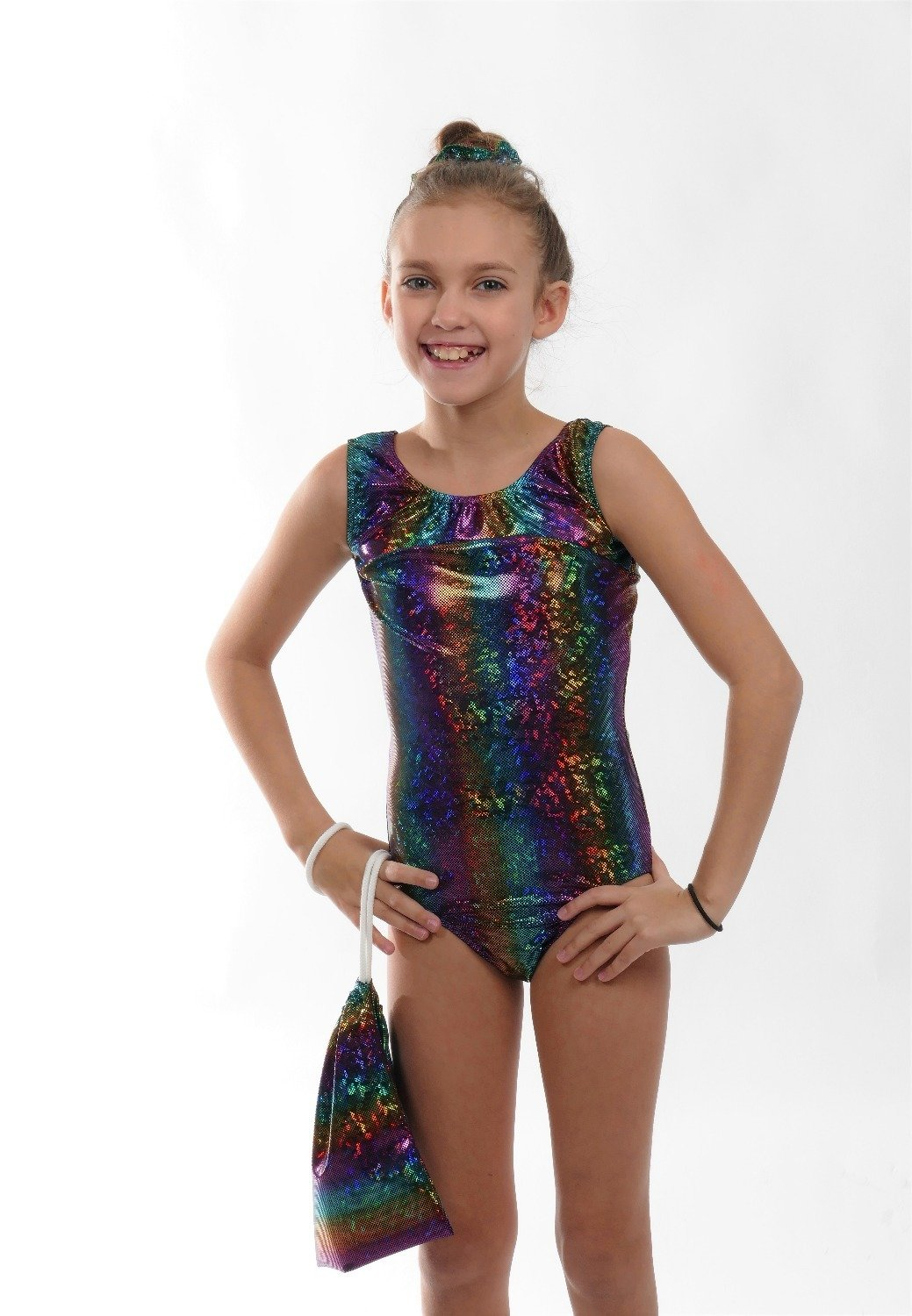 Leotard, scrunchie and matching grip bag