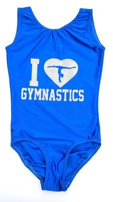 Royal blue with decal sticker.  Leotard and scrunchie.