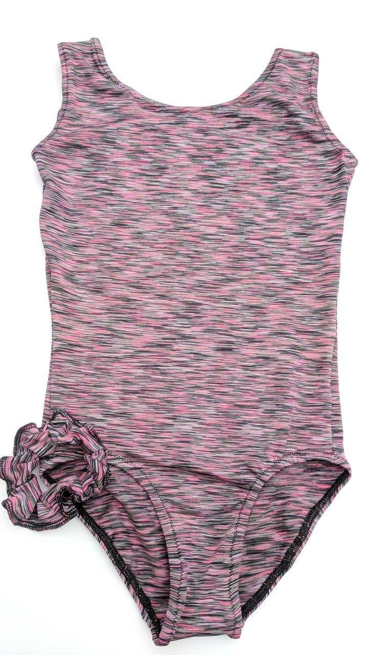 Space Dye print, purple, black. Leotard and scrunchie
