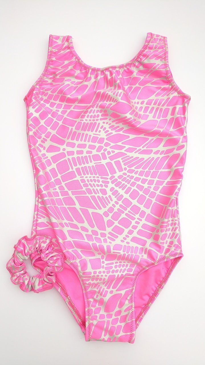 Abstract print pink. Leotard, scrunchie and matching grip bag