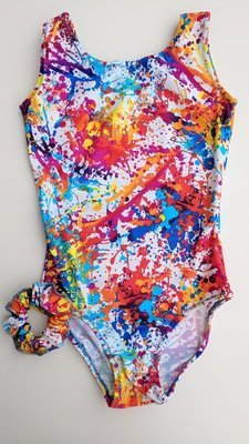 Abstract print mix colors. Leotard, scrunchie and matching grip bag