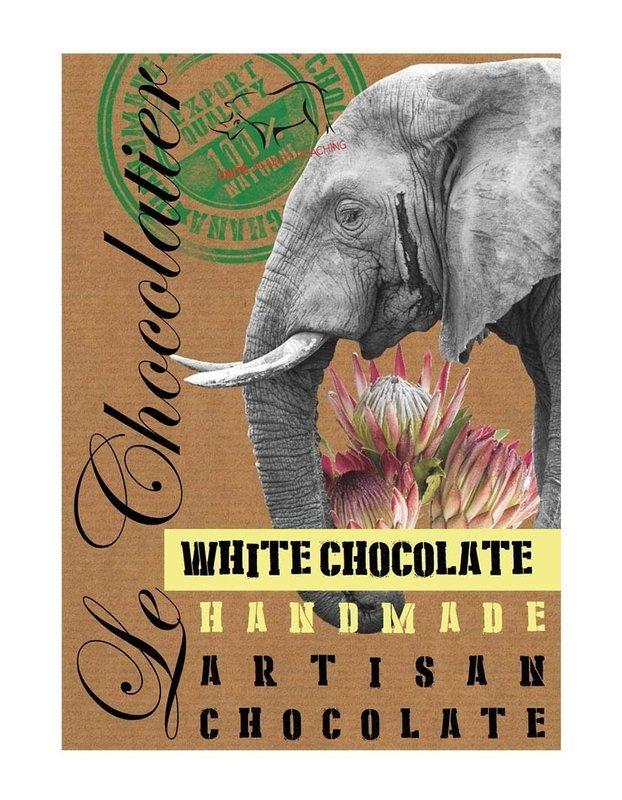 SLAB WHITE CHOCOLATE ELEPHANT 100g