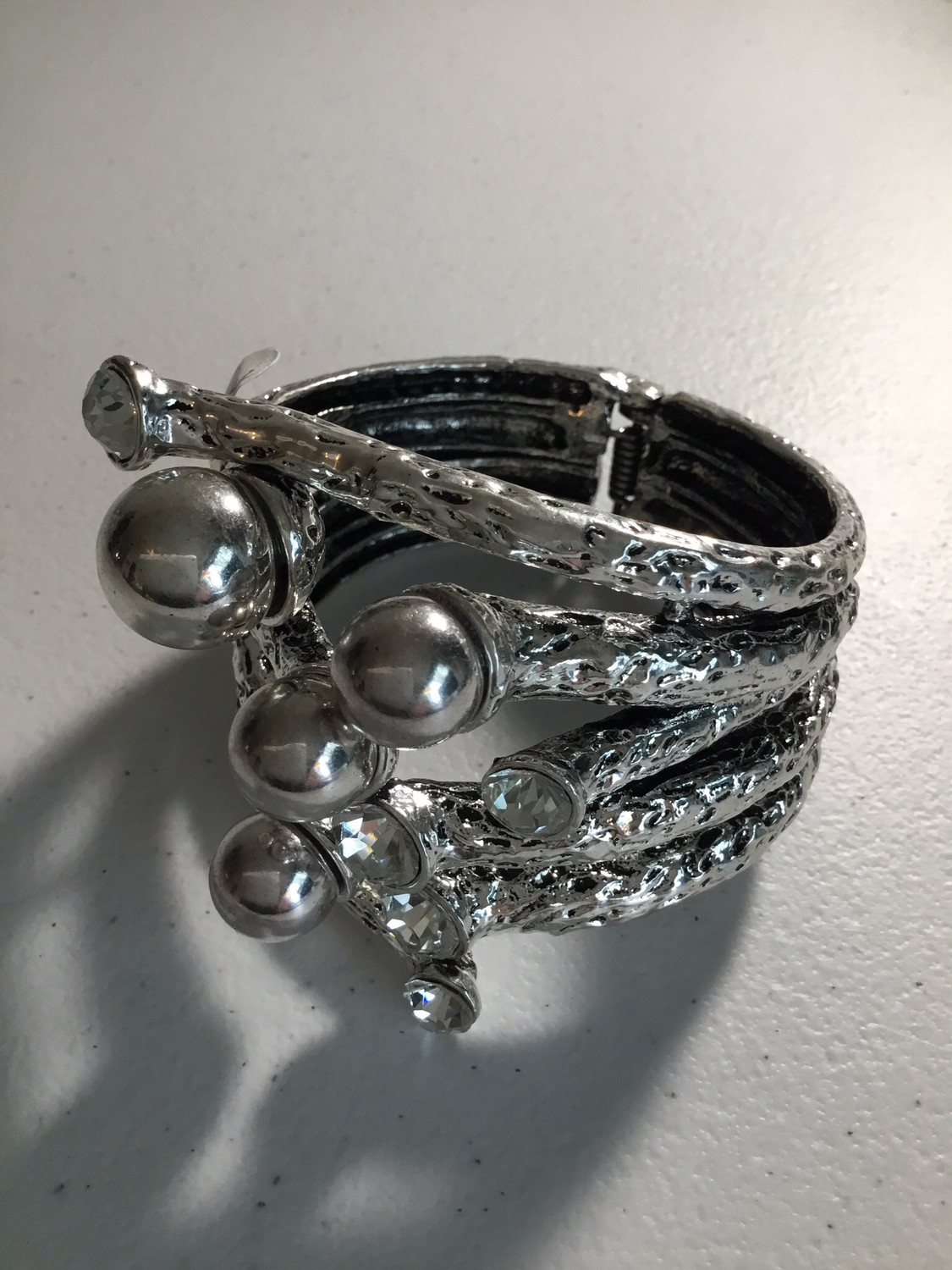 Silver Large Cuff with Silver Balls and Crystals