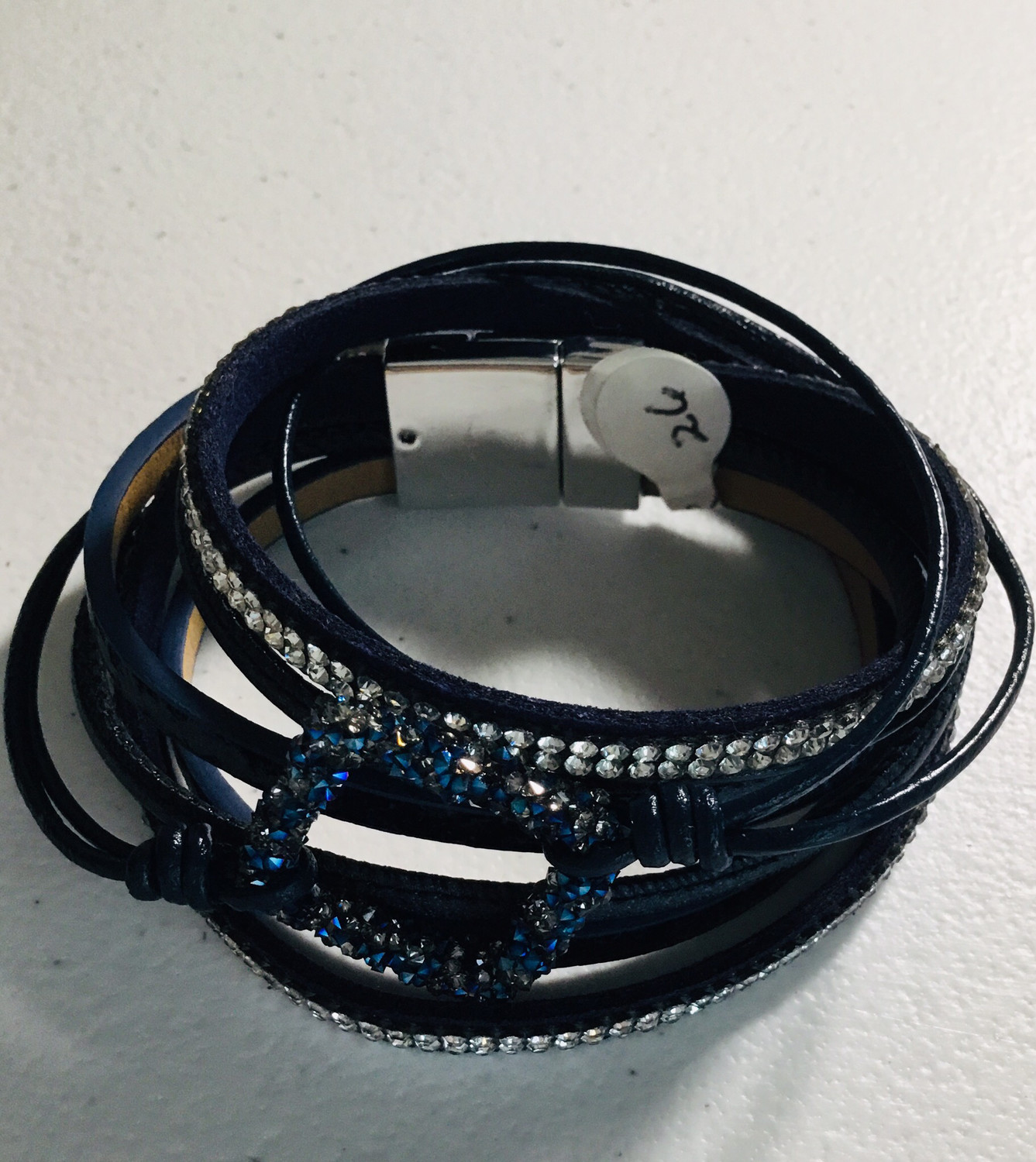 Black Wrap Bracelet Blue Square with Crystals