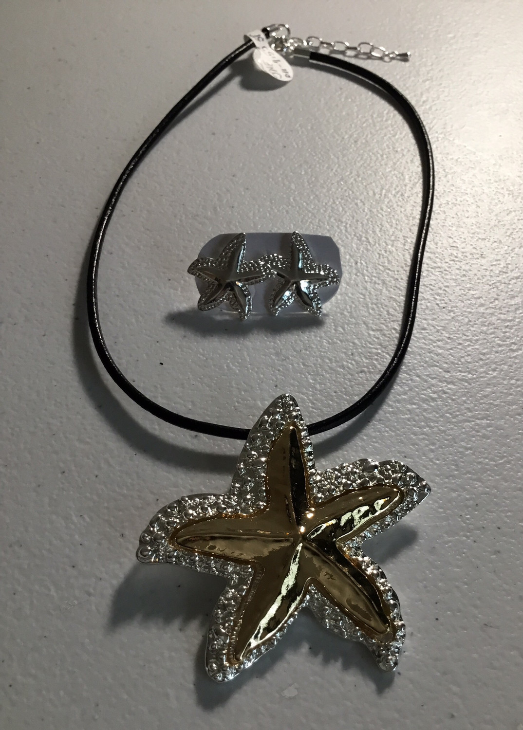 Black Leather with Gold and Silver Starfish Set