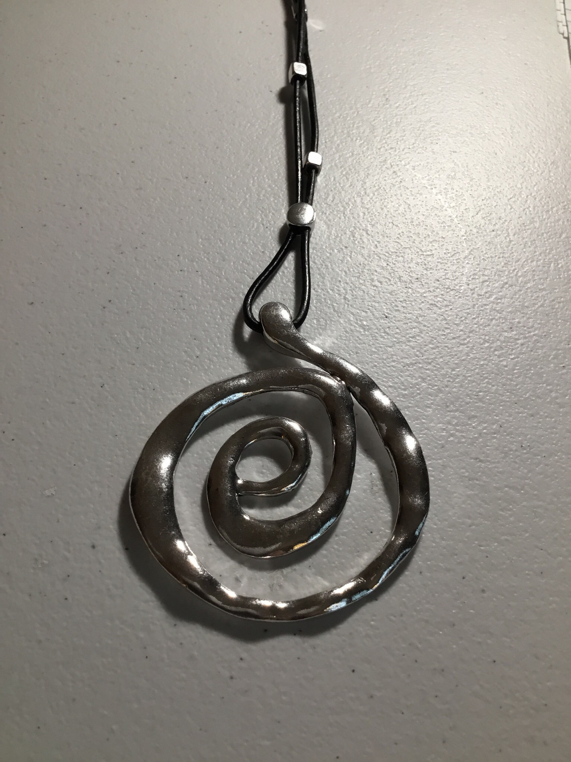 Black Leather with Swirl Pendant