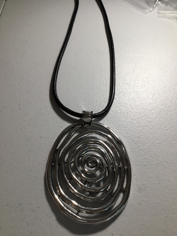 Black Leather with Oval Swirl Necklace
