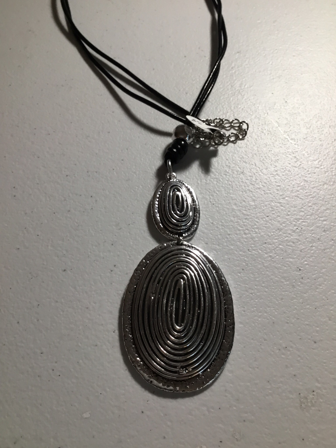 Black Leather with Double Oval Pendant
