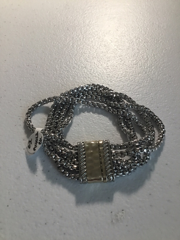 Five Row Silver Magnet Bracelet