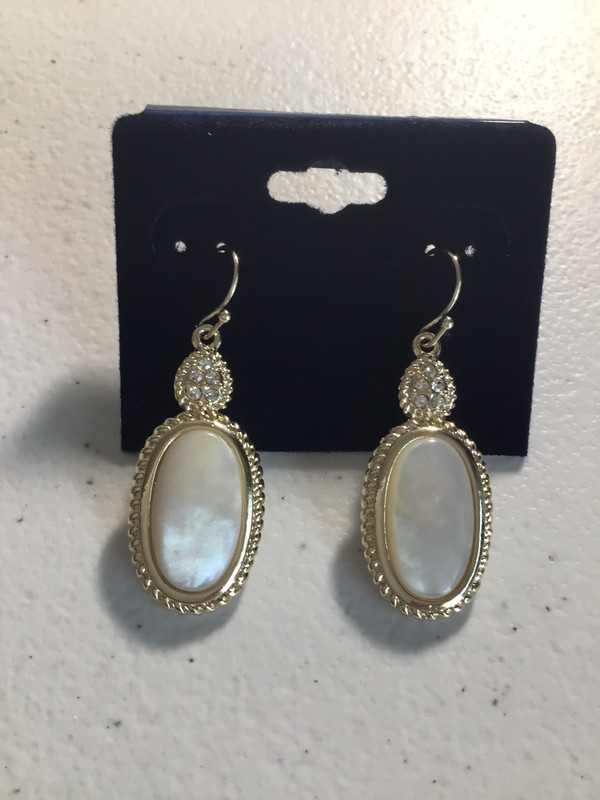 Gold Tone Mother of Pearl With Crystals