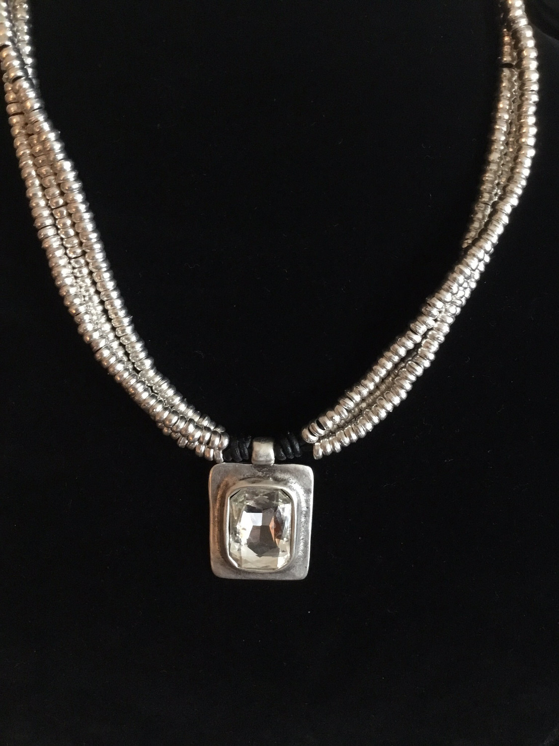 Pewter And Black Leather Handmade Beaded Necklace With Large Clear Crystal