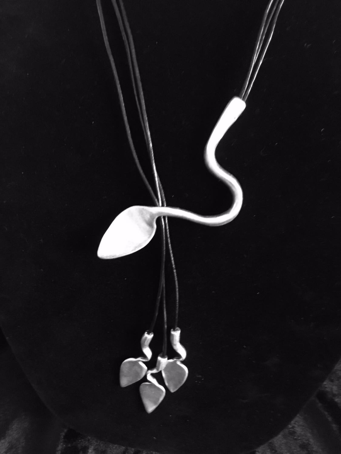 Pewter And Black Leather Lariat Style Necklace