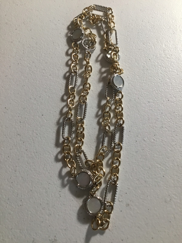 Gold And Silver Long Necklace with Mother of Pearl