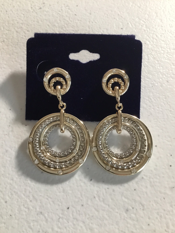 Gold and Silver Four Circle Earrings