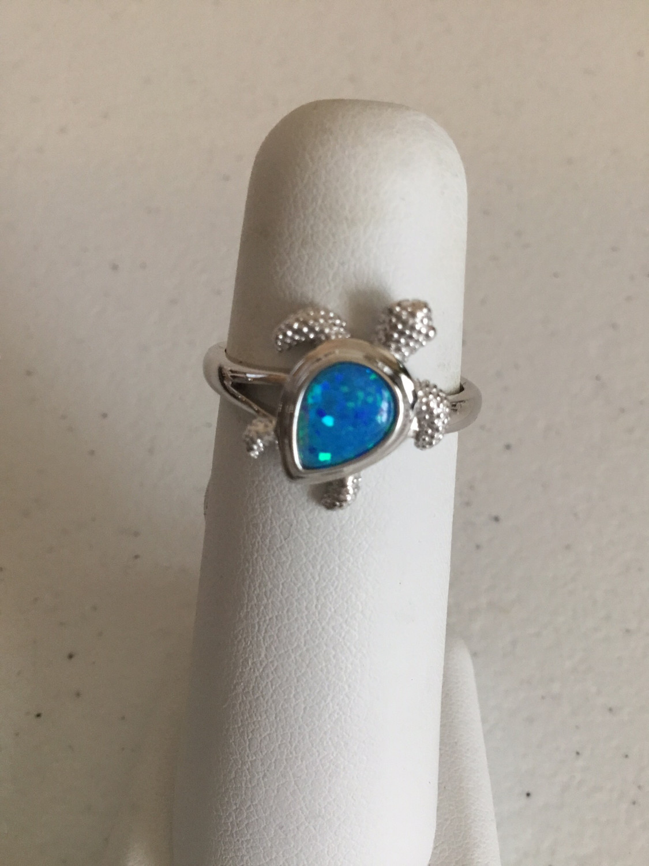 Sterling Silver Blue Opal Sea Turtle Ring